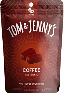 Tom & Jenny's Sugar Free Soft Caramel Candy with Sea Salt and Coffee - Low Net Carb Keto Diet (Moderate 100g Lifestyle) - with Xylitol and Maltitol - (Coffee Caramel, 1-pack)