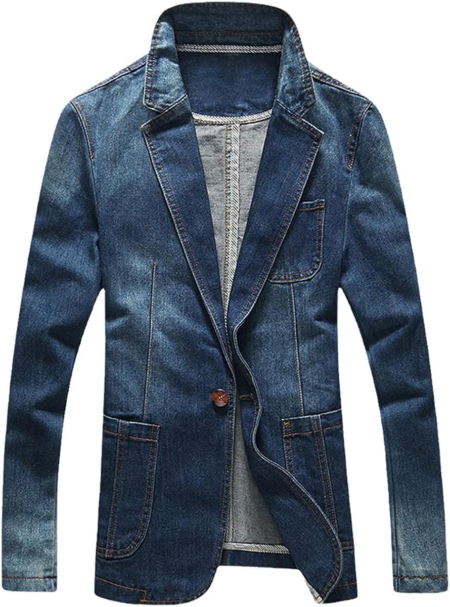 DFLYHLH Men's Slim Denim Jacket Spring Fashion Suit Jacket Trendy Suit Denim Jacket
