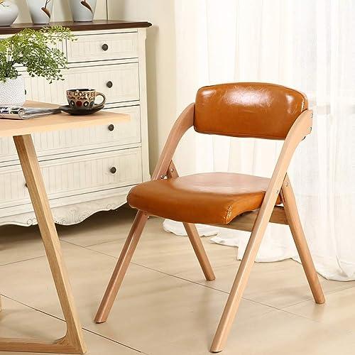 Hwt's Folding chair Chaise en Bois Massif Chaise D'ordinateur Livre Maison Bureau à La Maison en Plein Air 52  63  76 Cm (5 Couleurs) (Couleur   Orange Oil Wax PU)