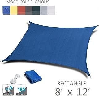 LOVE STORY 8' x 12' Rectangle Blue UV Block Sun Shade Sail Perfect for Outdoor Patio Garden