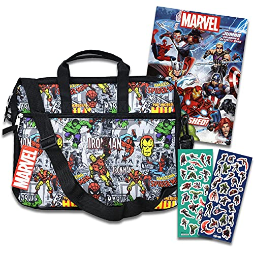marvel avengers messenger bags Marvel Tablet Case Avengers School Supplies Bundle ~ Marvel Messenger Bag With Avengers Stickers And Coloring Book (Marvel Sling Bag | Marvel Travel Bag)