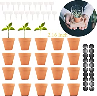Terracotta Pot Clay Pots Small Clay Ceramic Pottery Planter Cactus Flower Pots Succulent Pot Drainage Hole-Great for Plants,Crafts,Wedding Favor (2.16INCH, 2.16)