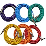 Seismic Audio - SAGC20R-BRPGYO - 6 Pack of Colored 20 Foot Right Angle to Straight Guitar Cables - 20' Multi-Color Guitar or Instrument Cables