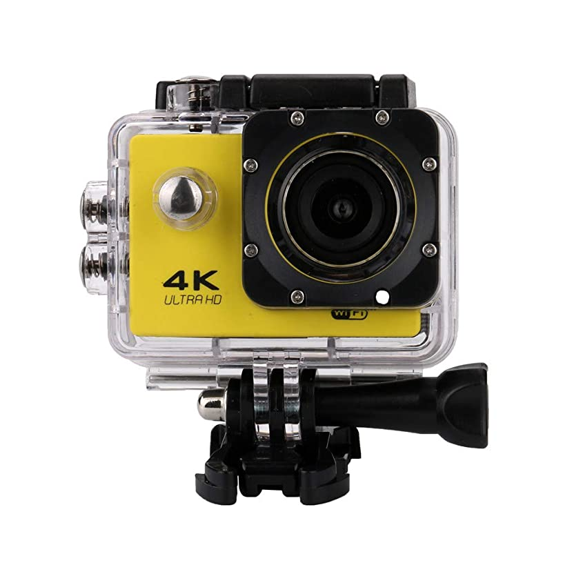 Sports Digital Camcorder Video Camera,Waterproof 4K Wifi 1080P Sports Action Remote Control Camera DVR Cam Camcorder (Yellow)