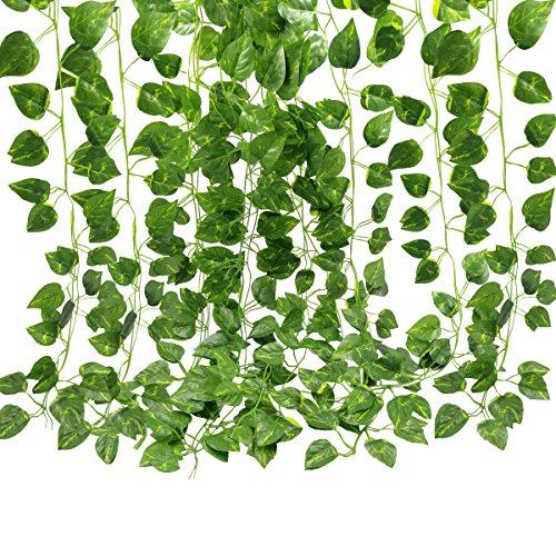 GoFriend, edera artificiale decorativa con foglie verdi, finta pianta rampicante, decorazione per matrimoni, giardini e pareti, 12 fili, 25 metri