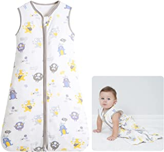 Baby Sleeping Bag Sack Infant Sleeping Bags Muslin Cotton Unisex Wearable Blanket Swaddle Ideal for Summer 1-3 Years