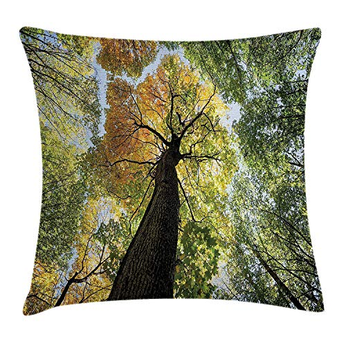 XIAOYI Tree Throw Pillow Cushion Cover, Ancient Forest in Autumn Green Nature Deciduous Foliage Growth Eco, Decorative Square Accent Pillow Case, 18 X 18 inches, Light Green Dark Brown Yellow