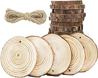 """CEWOR 24pcs 3.1""""-3.5"""" Natural Wood Slices with Holes Craft Wood and 33Ft Jute Twine"""