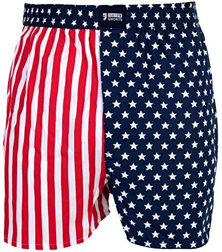 Happy Shorts Webboxer Herren Boxer Motiv Boxershorts Farbwahl, Grösse:M - 5-50, Präzise Farbe:USA - Colours