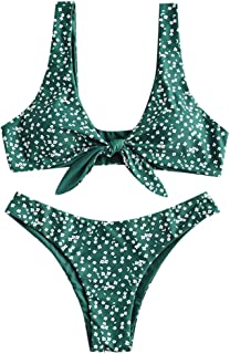 Women's Floral Low Waisted Front Knot Bikini Set Cute Two Piece Swimsuits