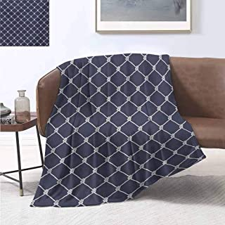 jecycleus Navy Blue Rugged or Durable Camping Blanket Navy Sea Yacht Theme Cool Classic Vessel Design in Vertical Rope Artwork Warm and Washable W70 by L70 Inch Dark Blue and White