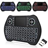 Zedo - Mini Teclado inalámbrico retroiluminado 2,4 G, Mando a Distancia de Mano con ratón táctil para Android TV Box, Windows PC, HTPC, IPTV, Raspberry Pi, Xbox 360, PS3, PS4 (Negro)
