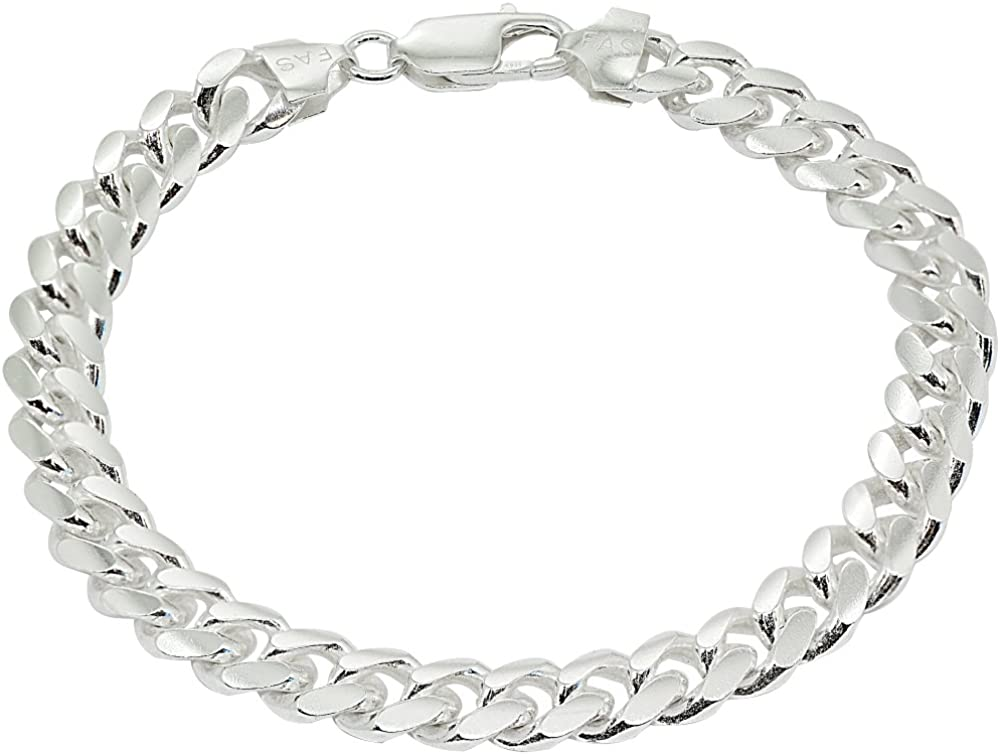 Large Link Sterling Silver Bracelet Unisex Jewelry 925 Gourmette Cuban Link Secure Clasp 8 Length by 38 Weighs 32 Grams