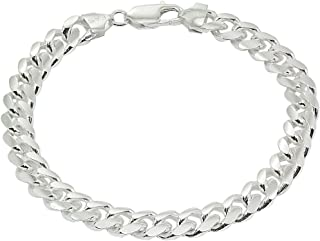 Sterling Silver 8mm Miami Cuban Curb Link Chain Mens Bracelet for Men Women