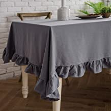 ColorBird French Vintage Ruffle Trim Tablecloth Washable Cotton Linen Table Cover for Kitchen Farmhouse Rustic Wedding Banquet Baby Shower Tabletop Use (Round, 60 Inch, Gray)