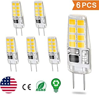 G8 LED Bulbs Warm White, 3W G8 Light Bulb Equivalent to G8 Halogen Bulb 20W, Not-Dimmable Energy Saving Light Bulbs 4000k-110V, for Under Counter Kitchen Lighting, Puck Lights (6 Pack)
