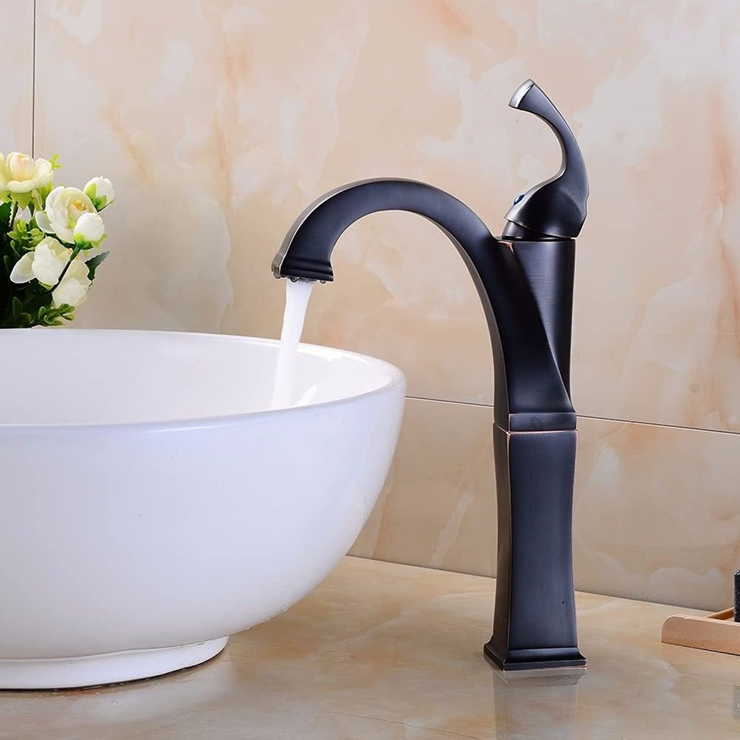 AQMMi Bathroom Sink Faucet Basin Mixer Tap Black Oil Rubbed Bronze Square Hot and Cold Water Ceramic Single Hole Single Lever Basin Sink Tap Bathroom Bar Faucet