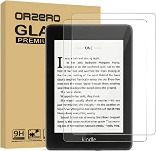 (2 Pack) Orzero Only For All New Kindle Paperwhite 10th Generation 2018 Tempered Glass Screen Protector, 9 Hardness HD Anti-Scratch Anti-Glare Bubble-Free Full-Coverage (2.5D Arc Edges) Clear Shield with Easy Installation (Lifetime Replacement Warranty)