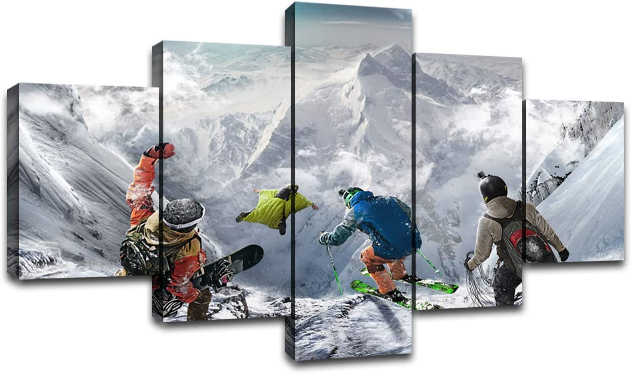 Extreme Sport Wall Art Skiing 25% OFF Canvas Prints lowest price Panel 5 S Decor