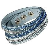 Unique Gems Damen Strass Armand Wickelarmband Kristalle Baby blau weiß edles Alcantara Nieten mit Druckknöpfen zum verstellen