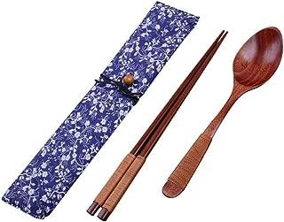 FORESTIME Japanese Wooden Chopsticks Spoon Fork Tableware 3pcs Set New Gift (brown, Chopsticks+Spoon)