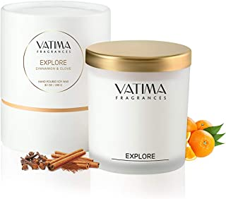 Soy Candle Scented candles - Natural Aromatherapy Cinnamon Clove and Orange Candles - Home Decor Non-Toxic Candles - Stress Relief Soy Wax Candles Frosted Glass Jar - Decorative Candles Gift set