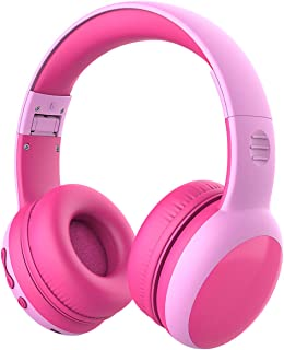 gorsun Bluetooth Kids Headphones with 85dB Limited Volume, Children's Wireless Bluetooth Headphones, Foldable Bluetooth Stereo Over-Ear Kids headsets - Pink