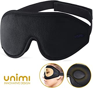 Eye Mask for Sleeping, Unimi 3D Contoured Sleep Mask for Women Men, Super Soft and Comfortable,100% Blockout Light 3D Eye Cover & Blindfold for Travel, Shift Work, Naps (Black)
