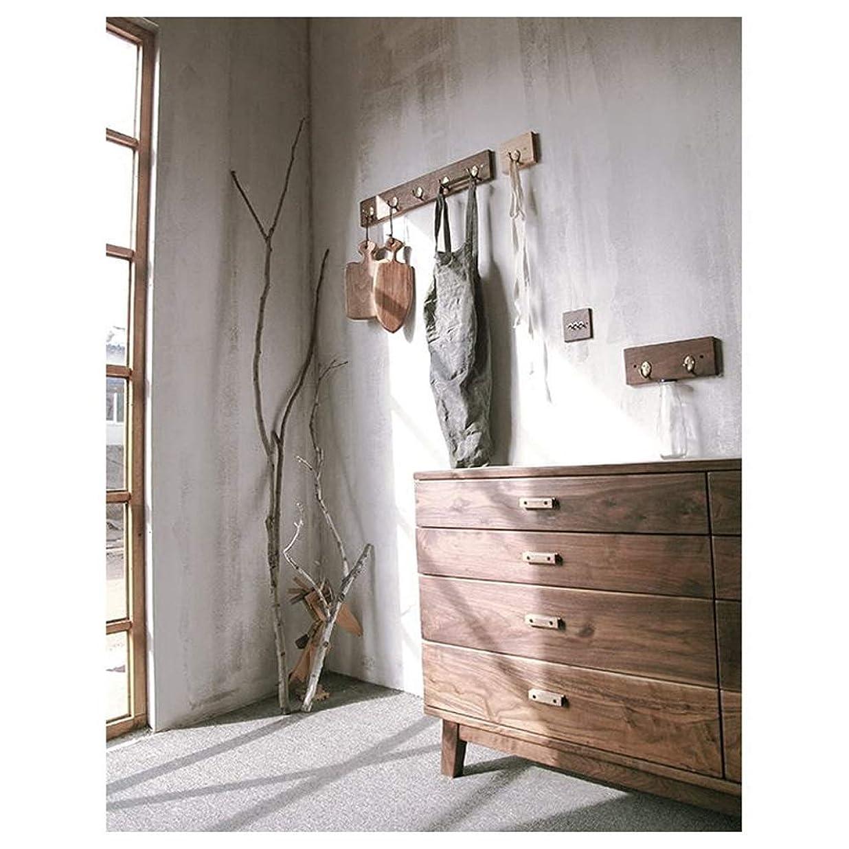 あたりまた明日ね再生可能木製コートラックスタンド、ウォールマウントコートフックハンガー-オフィスの廊下の寝室の応接室の出入り口ブラックウォールナット5フック60 * 10 cm