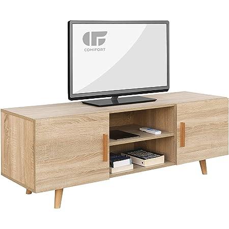 COMIFORT Mueble de TV - Mesa de Salón Moderno, Estilo Nórdico, Puertas con Tirador y Patas de Haya 100%, Muy Resistente, Fabricado en Europa, Color Roble