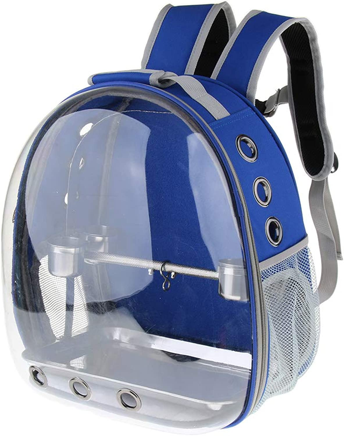 B Blesiya Pet Outdoor Travel Backpack Birds Parred Waterproof Carrier with Perch Cups  bluee