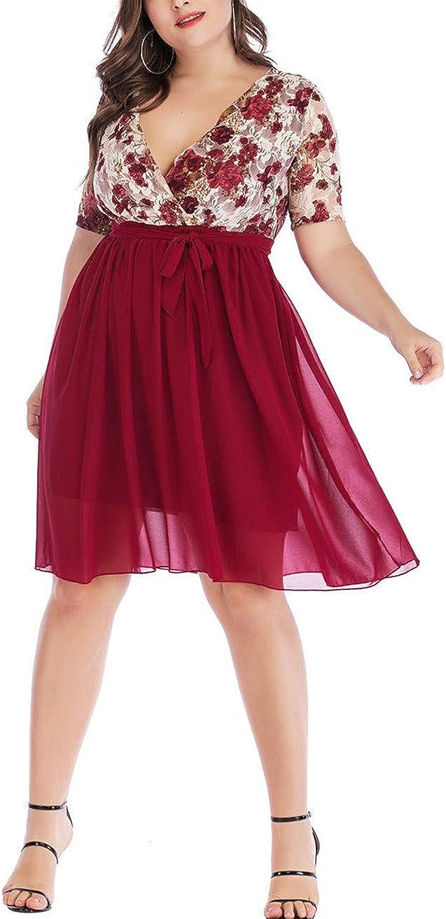Women Plus Size V Neck Chiffon Short Sleeve Floral Summer Casual Flowy Midi Dress with Belt