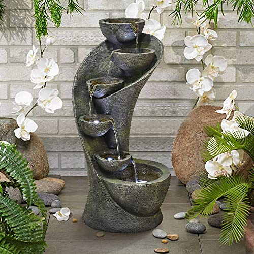 Chillscreamni Outdoor Garden Fountain 23 6in Outside Fountains And Waterfalls With 6 Bowls Curved Design For Indoor Buy Online In China At China Desertcart Com Productid 109064771