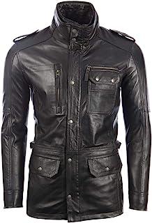 Aviatrix Men's Real Leather Fashion Military Field Jacket Coat (ZGOK)