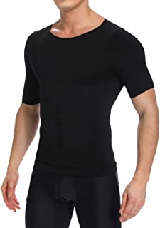 KIWI RATA Mens Compression Undershirts Ultra Slimming Body Shaper Belly Control Vest Workout Active Gynecomastia Tank Tops