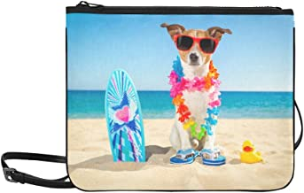 Jack Russell Dog At The Beach With A Surfboard Wea Pattern Custom High-grade Nylon Slim Clutch Bag Cross-body Bag Shoulder Bag