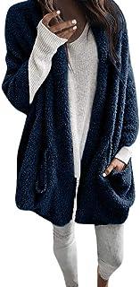 FRAUIT Strickjacke Damen Herbst Winter Frauen Langarm Mantel Dick Mit Kapuze Jacke Atmungsaktiv Warm Bequem Freizeit Tanzparty Party Wunderschön Windjacke Streetwear Kleidung Bluse Tops