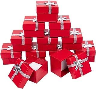 NBEADS Caja de Regalo de 120 Piezas de cartón con Lazo y Esponja para Anillos y Colgantes, Color Rojo, 50 x50x37mm