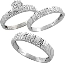 Silver City Jewelry 10k White Gold Diamond Trio Wedding Ring Set 3-Piece His & Hers 5 & 3.5 mm 0.14 cttw, Sizes 5 – 14