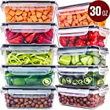 Food Storage Containers with Lids [10 Pack, 30 Ounce] - Food Containers with Lids Plastic Containers...