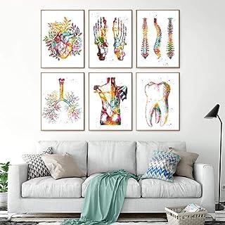 LTXMZ Pieds Squelette Aquarelle Art Toile Tableau Peinture Pied Os Anatomie Affiche Murale Clinique MéDecins Bureau Decora...