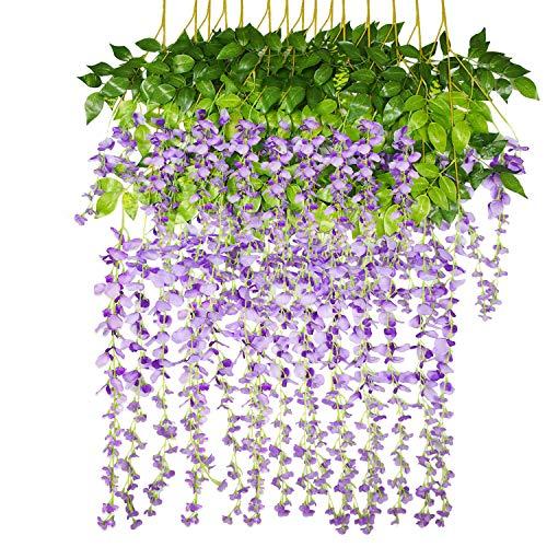 Sunm Boutique 14 Pack Artificial Wisteria Garland Fake Wisteria Vine Hanging Garland Silk Flowers String Home Party Wedding Decor (purple)
