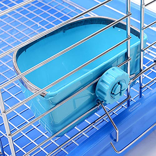 POPETPOP Bunny Feeder-Food/Water/Hay Bowl Dish for Rabbit Guinea Pig Chinchilla Hamster Ferret,Rabbit Feeders Hanging-Blue