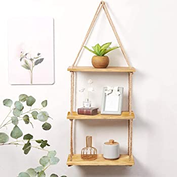 VAH Wall Hanging Shelf, Real Pine Wood Floating Shelves for Wall Rustic Rope Shelves Plant Shelf Farmhouse Decor for Living Room Bathroom Bedroom Kitchen Apartment (3 Tier)