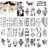 Konsait Tatuajes temporales para adultos hombre Mujer Niños (30 hojas), Fake Tatuajes Adhesivos Tatuajes de cuerpo temporales brazo cuello impermeable, Calavera Búho Flor Lobo Etc