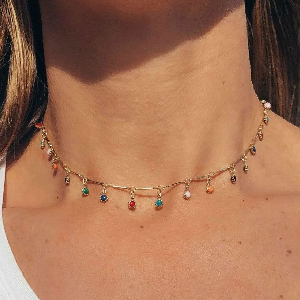 TonyJameJPStore Simple colorful Bead Chain Choker Necklace Crystal Tassel Necklace For WomenSex Jewelry Prom Accessories