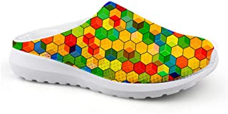 Men's Slippers Mesh Width Clogs Mules Beach Shoes Colourful Hexagon Geometry Printed Breathable Sandals Boys Flat Shoes Lo...