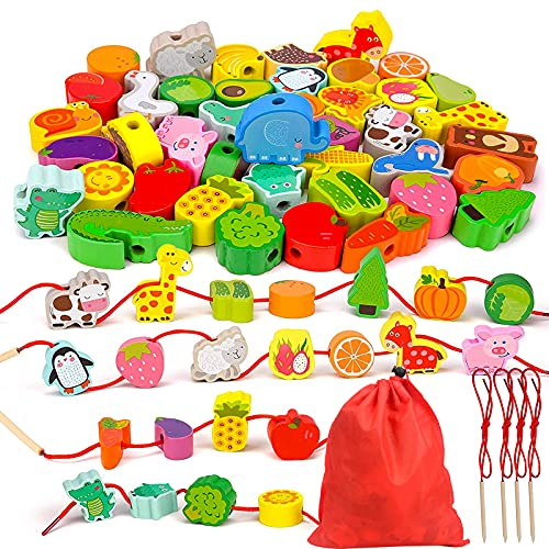 MMTX Perline Animali da Infilare, Giocattolo per Infilare Le Perline in Legno Bambini,Giochi Montessori Giochi in Legno Giocattoli educativi Compleanno Regalo per Bambini 2 3 4 Anni