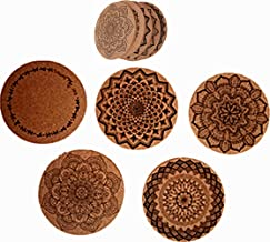 Set of 5 Natural Absorbent Cork Coasters With Round Edge,Eco-Friendly,Heat-Resistant, Reusable Saucers for Cold Drinks,Wine Glasses,Cups & Mugs (5)