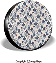 Spare Tire Cover,Classic Flowers with Vivid Blooms and Victorian Vintage Effects Pattern Decorative,Cream Night Blue Ruby,for Jeep,Trailer, RV, SUV and Many Vehicle 14